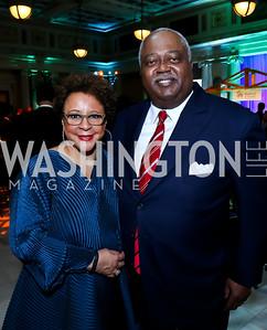 Honoree Sheila Johnson and Judge William Newman. Photo by Tony Powell. DC Habitat's 25th Anniversary. Union Station. November 20, 2014