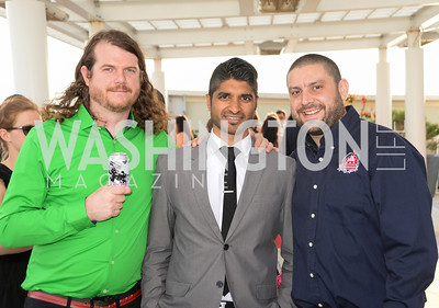 Jeff Hancock, Vinoda Basnayake, Brandon Skall, DC Vote hosts the First Annual, Three Star Ball.  National Association of Realtors Building Rooftop, May 22, 2014.  Photo by  Ben Droz.