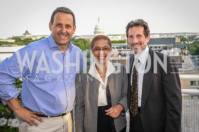Ed Krauze, Eleanor Holmes Norton, Daniel Soloman, DC Vote hosts the First Annual, Three Star Ball.  National Association of Realtors Building Rooftop, May 22, 2014.  Photo by  Ben Droz.