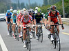 Greg van Avermaet leads the escape along the Rhone valley to Martigny - their lead has reached seven minutes...