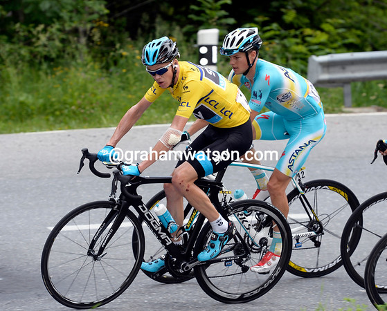 Froome is still looking fragile as he climbs the Forclaz ahead of Fuglsang...
