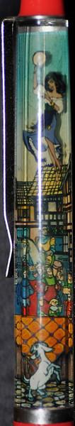 Back:  Hunchback of Notre Dame<br /> Front: crowd <br /> Floater: Esmeralda <br /> Style: Classic<br /> Color: red<br /> Cost: $9.00<br /> Category: Disney