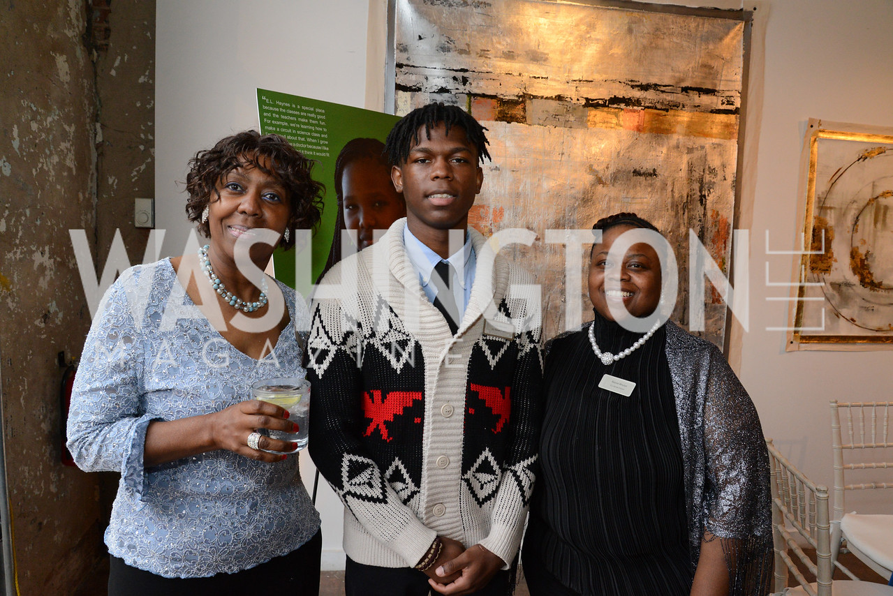 Debora Miles, Elijah Walker and his mother Rashia Walker. E.L. Haynes Toast to Transformation Celebration. Long View Gallery. May 14, 2014. Photos by Neshan H. Naltchayan
