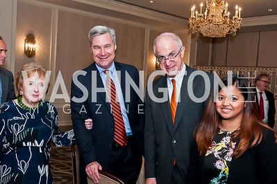 Elizabeth Drew, Sen. Sheldon Whitehouse, Tom Tish, Mariel Villegas. Photo by Tony Powell. Elizabeth Drew Book Signing. Madison Hotel. May 15, 2014