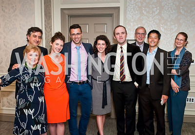 Elizabeth Drew, Michael Tomasky, Annie Lowery, Ezra Klein, Molly Ball, Justin Scherin, Dan Balz, David Kihara, Nancy Balz. Photo by Tony Powell. Elizabeth Drew Book Signing. Madison Hotel. May 15, 2014