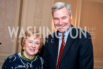 Elizabeth Drew, Sen. Sheldon Whitehouse. Photo by Tony Powell. Elizabeth Drew Book Signing. Madison Hotel. May 15, 2014