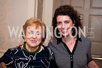 Elizabeth Drew, Molly Ball. Photo by Tony Powell. Elizabeth Drew Book Signing. Madison Hotel. May 15, 2014