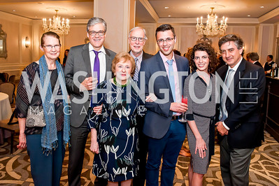 Nancy Balz, John Harwood, Elizabeth Drew, Dan Balz, Ezra Klein, Molly Ball, Michael Tomasky. Photo by Tony Powell. Elizabeth Drew Book Signing. Madison Hotel. May 15, 2014