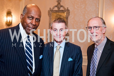 Vernon Jordan, Bill Plante, Dan Balz. Photo by Tony Powell. Elizabeth Drew Book Signing. Madison Hotel. May 15, 2014