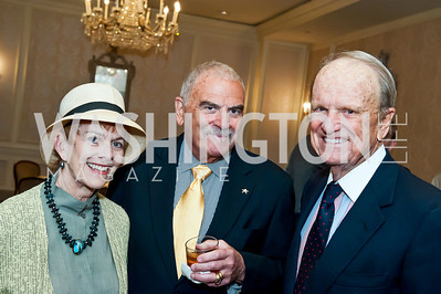 Katherine Wyler, Richard Rymland, George Stevens Jr. Photo by Tony Powell. Elizabeth Drew Book Signing. Madison Hotel. May 15, 2014