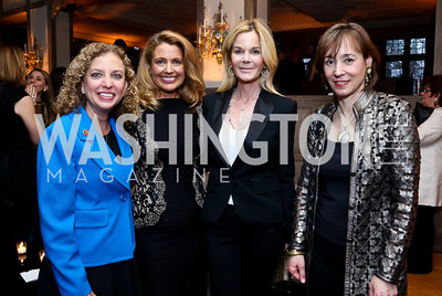 Rep. Debbie Wasserman Schultz, Rebecca Cooper, Susanna Quinn, Frances Stead Sellers. Photo by Tony Powell. Elle Women in Washington 2014 Power List. Villa Firenze. March 25, 2014