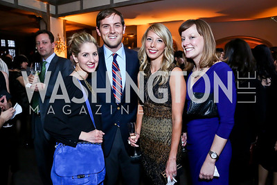 Marissa Mitrovich, Luke Russert, Jennifer Hing, Anna Palmer. Photo by Tony Powell. Elle Women in Washington 2014 Power List. Villa Firenze. March 25, 2014