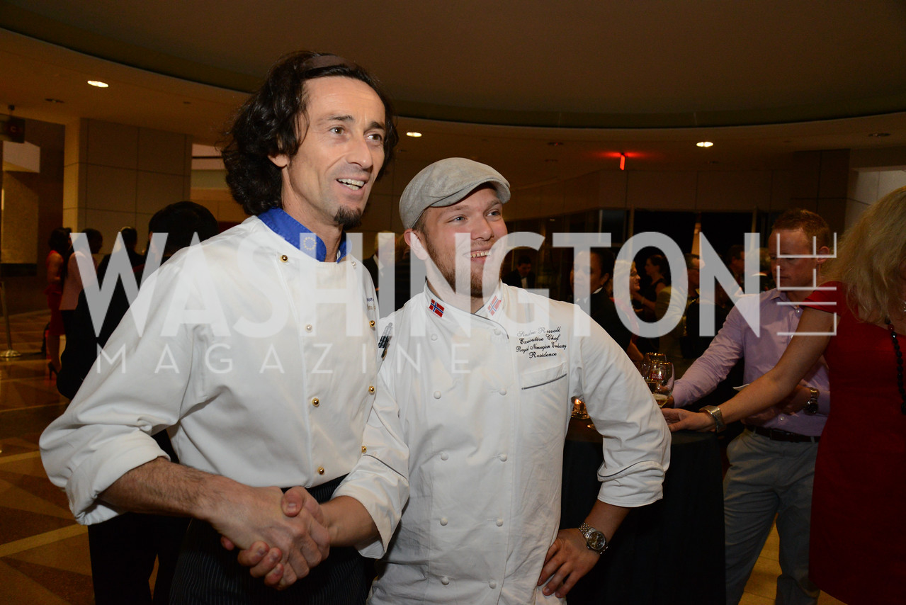Chef Roberto Grazioli (Italy) and Chef Sindre Risvoll ( Norway). Embassy Chef Challenge. Ronald Reagan Building. May 15, 2014. Photo by Neshan H. Naltchayan
