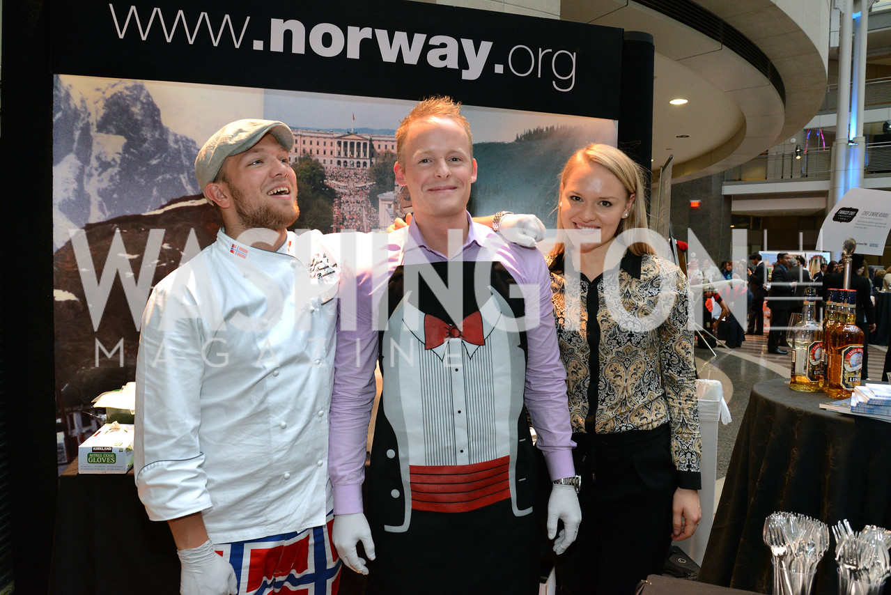 Chef Sindre Risvoll, Arild Jensen Waage and Helen Meldahl of the Royal Norwegian Embassy. Embassy Chef Challenge. Ronald Reagan Building. May 15, 2014. Photo by Neshan H. Naltchayan