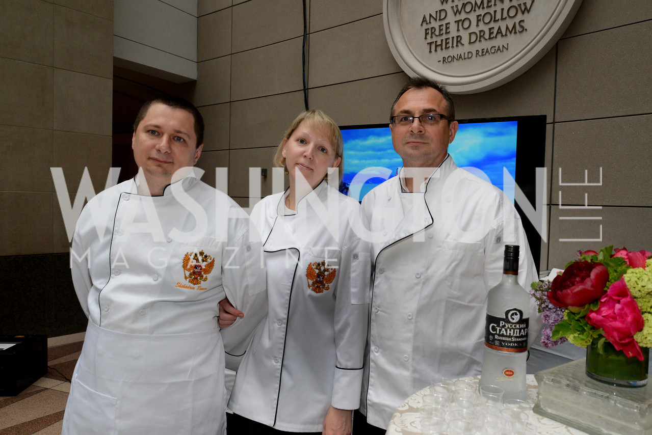 Chef Roman Shchadrin, Elena Chernyshova and Pavel Kotov of the Embassy of the Russian Federation. Embassy Chef Challenge. Ronald Reagan Building. May 15, 2014. Photo by Neshan H. Naltchayan
