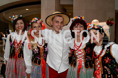 Iwona Bukowski, Dominika Chyczewska, Chef Andrzej Bielach of the Embassy of Poland, Miroslawa Sobieraj and Olga Langowska-Wrona. Embassy Chef Challenge. Ronald Reagan Building. May 15, 2014. Photo by Neshan H. Naltchayan