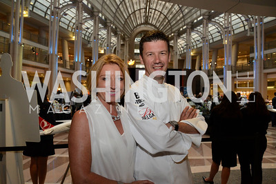 Greet De Keyser and Chef Bart Vandaele. Embassy Chef Challenge. Ronald Reagan Building. May 15, 2014. Photo by Neshan H. Naltchayan