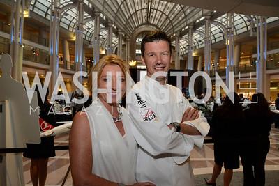 Greet De Keyser and Chef Bart Vandaele. Embassy Chef Challenge. Ronald Reagan Building. May 15, 2014. Photo by Neshan H. Naltchayan