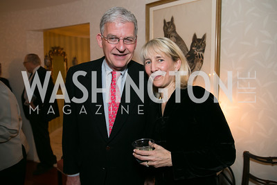 Matt Watrous,, Cindy Flannery. Photo by Alfredo Flores. Emily Lodge's book party for The Lodge Women, Their Men and Their Times. Lucinda Martin residence. March 25, 2014