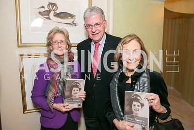Kitty deZwart, Matt Watrous, Susan Rappaport. Photo by Alfredo Flores. Emily Lodge's book party for The Lodge Women, Their Men and Their Times. Lucinda Martin residence. March 25, 2014