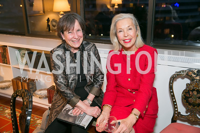 Christine Smart, Nina Pillsbury. Photo by Alfredo Flores. Emily Lodge's book party for The Lodge Women, Their Men and Their Times. Lucinda Martin residence. March 25, 2014