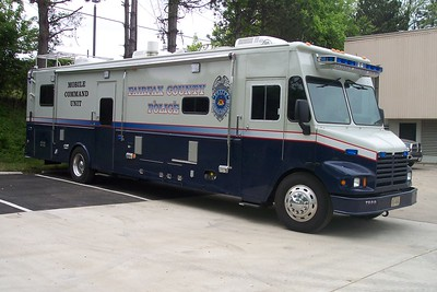 Fairfax County's former Mobile Command Unit, now used as a recruitment vehicle.