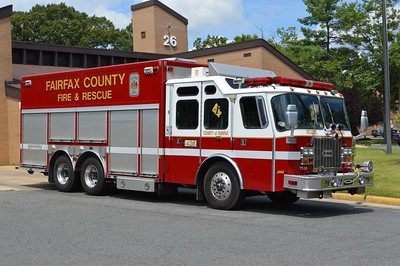 The last remaining 2001 E-One Cyclone II 250/200 reserve squad was photographed in August of 2016 while filling in at Station 26, Edsall Road.  Fairfax County ordered three of these squads.