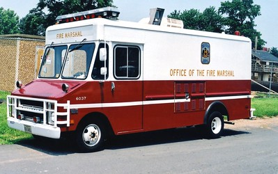 Fire Marshal's van, a 1977 Chevy Step Van/Yankee, Shop #6037.