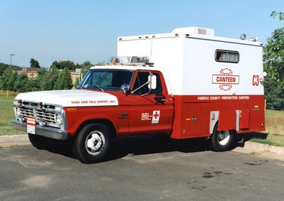 Former Canteen 3, a 1973 Ford F-350/Swab.  Operated by the Fairfax chapter of the American Red Cross.  ex - Fairfax County Police Department Explosive Ordinance Disposal Unit and Identification Unit.
