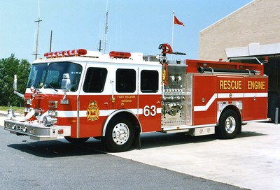 Former Rescue Engine 63 from Fort Belvoir, a 1996 E-One Cyclone, 1500/500, sn- 15870.