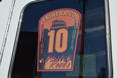 Emblem found on Fairfax County's Truck 410, a 2015 Pierce Velocity 100' tiller.