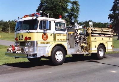 Former Pumper 10, a 1966 Duplex/Ward LaFrance, 1250/500, Shop #V53.  Sold to Shamokin Dam, Pennsylvania, in 1986.