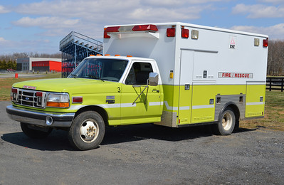 'Fire Truck 3' is this interesting 1995 Ford F-350/Medic Master with a 200 gallon water tank.  The box was gutted and a small pump, tank, and extrication equipment were mounted.  Hoselines are stored in the outside compartments.  ex - Baileys Crossroads (Fairfax County, Virginia) Ambulance 10.