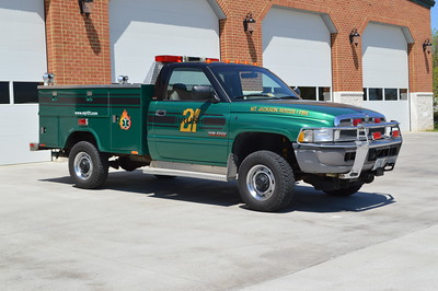 Brush 21 from Mt. Jackson, Virginia is operating as a Utility until a brush package can be obtained.  This 1995 Dodge Ram 2500/Stahl/Shade Equipment Company (Winchester, VA) originally was delivered to Great Falls, Virginia in Fairfax County where it operated as a boat support unit.  Mt. Jackson received the truck in 2015, complete with a plow.  The Triplett Business & Technology School in Mt. Jackson did the repaint and other work on the Dodge.
