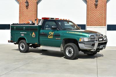 Mt. Jackson, Virginia (Shenandoah County) Brush 21, a 1995 Dodge Ram 2500/Stahl/Shade Equipment Co./2015 Triplett Business & Tech School/2018 UPF Skid.  150/150/5  Ex- Great Falls, VA (Fairfax County) Boat Support 412.  Mt. Jackson received the truck in 2015.