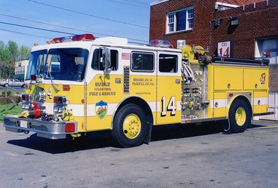 Former Engine 414, a 1984 Duplex/E-One/1997 Pierce, 1250/500, sn- 3335.  Glider from a 1974 Seagrave.  This was damaged in a station fire in 1997.