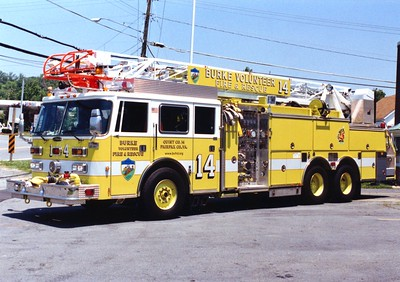 Former Quint 414, a 1991 Pierce Arrow/1997 Pierce, 1500/500, 75', sn- E6411 and F3756.