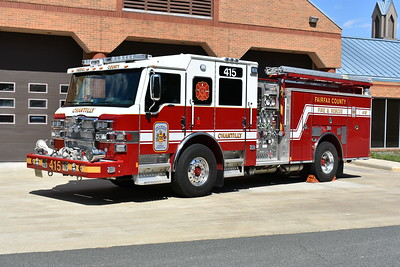 One of four 2017 Pierce Velocity's equipped with a 1500/750/40 delivered to Fairfax County, Virginia.  This is Pierce job number 30726-03 assigned to Engine 415 at Chantilly.    The other three were delivered to Engine's 426, 436, and 438.