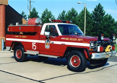 Former Brush 415, a 1985 Ford F-250/Steeldraulics, 300/200, Shop #5496.  B415 was unique in that it had a brush module, and an EMS module.  Former Brush 20 (Gunston).
