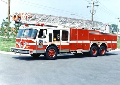 Former Truck 15, a 1989 E-One Hurricane, 110', Shop #7206.