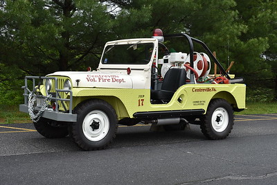 Now privately owned in Virginia is Centreville, Virginia (Fairfax County) old Jeep 17, a 1958 Jeep CJ6 equipped with a 60/100.  This Jeep was purchased new by Centreville and was originally red in color.  It was sold in 1995 and recently restored.  When this photograph was taken on an overcast day in May of 2017 at the Apple Blossom festival in Winchester, Virginia, it had 4,400 original miles.