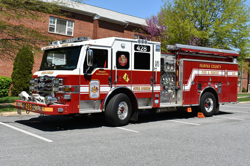 Fairfax County, Virginia Engine 428 from Seven Corners photographed while doing a drill in May of 2018.  It is a 2015 Pierce Velocity 1500/750/40 with Pierce job number 28325-02.