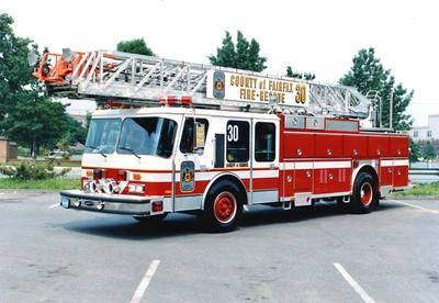 Former Truck 30, a 1986 E-One Hurricane, 110', Shop #7192.