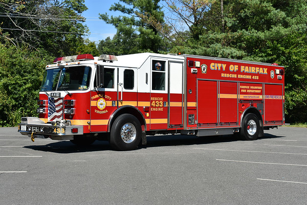 Fairfax City, Virginia Reserve Rescue Engine 433 - 2004 Pierce Lance with a 1500/500/60.  Pierce job number 15370.  Pump in rear.  Kept at the Training Center when not in service.