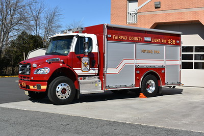 Fairfax County, Virginia operates three identical 2015 Freightliner M2/Pierce light and air units.  This is Light/Air 436 from the Frying Pan station and has Pierce job number 29150-02.  The two other Light/Air units are assigned at Stations 23 and 37.