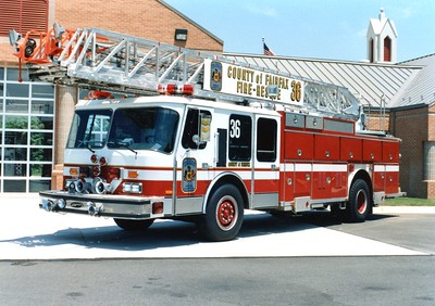 Former Truck 36, a 1986 E-One Hurricane, 110', Shop #7192.