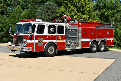 Foam 437 from Fairfax County, Virginia operates from the Kingstowne station.  It is a 2000 Emergency One Cyclone II and equipped with a 3000 gpm pump, 500 gallons of water, and 2000 gallons of foam.  It has a 2000 gpm foam turret gun.  E-One serial number 121053.
