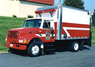 Former Hazmat Support 34, a 2000 International 4700/Morgan, Shop #6090.