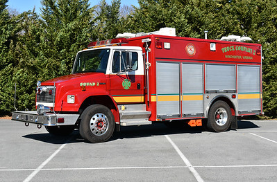 Squad 2 from Winchester was received in November of 2016.  It is a 2001 Freightliner 70/Pierce with work done by Rouss members in 2016/2017.  It carries Pierce job number 11924-02.  It was originally delivered to Fairfax County, Virginia where it ran as Light/Air 437 from their Kingstowne station.  It was one of two delivered to Fairfax County.