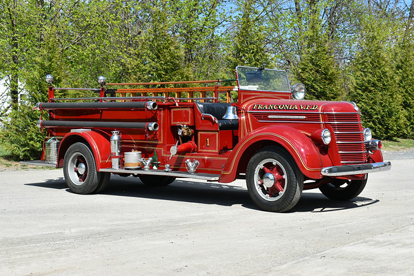 Franconia VFD still owns their first new fire truck purchased, a 1937 International/Pirsch 500/200.  The Pirsch was in service from 1937-1969, and had a full restoration in 1974 by White Post Restorations.